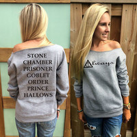 Harry potter inspired sweatshirt  Deathly hallows, movie titles women off the shoulder sweatshirt on the back oversized sweater pullover