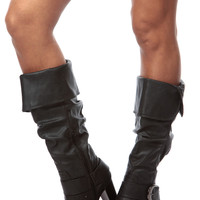 Black Faux Leather Slouch Calf Length Chunky Heel Boots