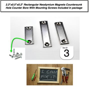 """Rectangular Neodymium Magnets Countersunk Hole Counter Bore With Mounting Screws 2.3""""x0.5""""x0.2"""" By LUD 