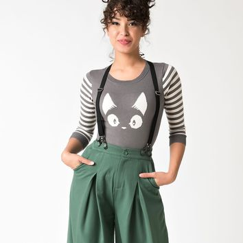 Grey and White Stripe Three Quarter Knit Kitty Sweater