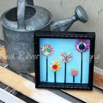 Shadow box frame, Wall Decor, wooden frame, paper flowers, home decor