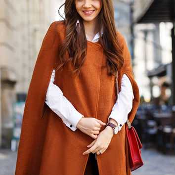 Brown Bat Sleeve Cape Woolen Coat