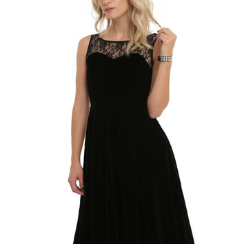 Black Lace Velvet Dress