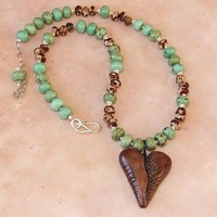 RESERVED - Polymer Clay Heart Turquoise Seeds OOAK Handmade Necklace