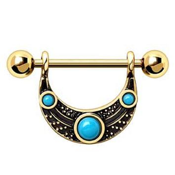 WILDKLASS Gold Plated Turquoise Shield Nipple Ring