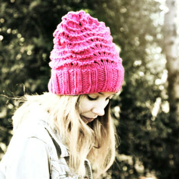 Slouchy Beanie Hat - Pink - Hand Knitted Vegan Hat - Woman's Hat - Teen Girl Hat