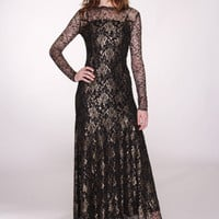 Black Long Sleeved Fine Lace Gown