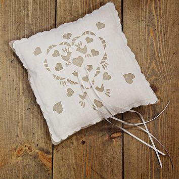 Wedding Ring bearer pillow, with pearls, country wedding chic