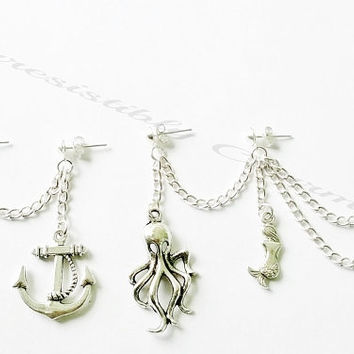 Antique silver Nautical Octopus, mermaid,  anchor and wheel triple and double piercing cartilage or ear cuff earrings (pair)