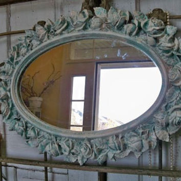 Large ornate framed wall mirror distressed deep aqua blue cream roses vintage shabby chic piece Anita Spero