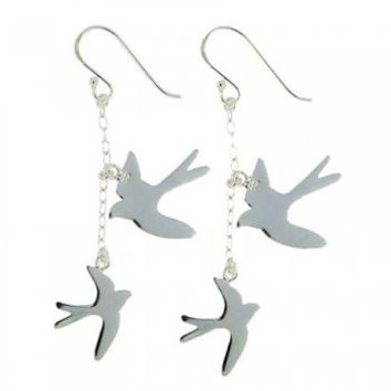 Silver Swallows Earrings | Oliver Bonas