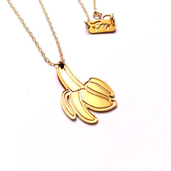 Banana Necklace Gold  Necklace Banana Icon Jewelry Design Chic Art Logo Necklace Beep Studio Jewellery Silver / Gold Small Pendant Miniature
