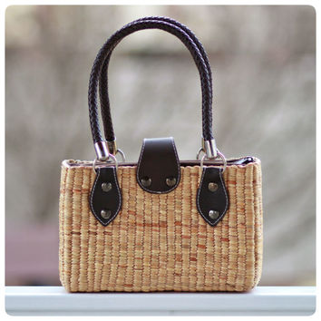 Handwoven straw basket bag, seagrass tote, mini straw bag, straw tote (Lily mini tote)