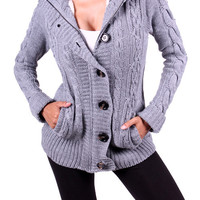 Hooded Cardigan with Faux Fur Lining - Gray