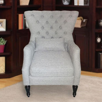 Light Gray Tufted Accent Chair