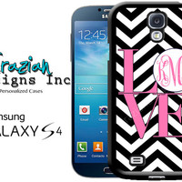 Galaxy S5 Case - Love Mongram Chevron S5 Case - Monogram Galaxy S4 Case - S4 Case S5 Case