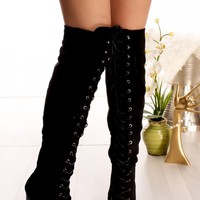 BLACK BOOTS LACE UP FAUX SUEDE ABOVE THE KNEE