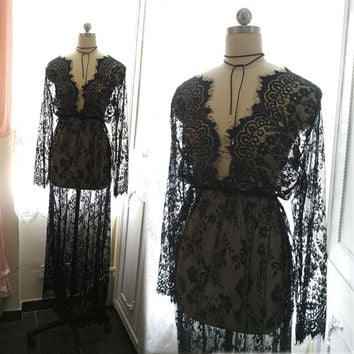 Bohemian Goth Gothic Black Lace Sheer Beach Coverup Wedding Dress Maxi Dress Long Sleeves Women's Kimono Robe Bridal Slip Gypsy Shabby