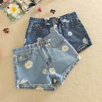 Cheap Hot Sale 2016 New Spring Summer Denim Shorts Women Daisies Printed Short Jeans Female Jeans Shorts Feminino Free Shipping