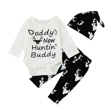 "Kids Boys ""Daddy's new hunting buddy"" Romper Tops +Deer Print Pants+Hat Outfits Set"