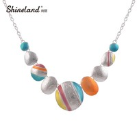 New Design 2017 Bijoux Fashion Ethnic Necklace For Women Silver Plated Clolrful Round Chokers Statement Necklace Vintage Jewelry
