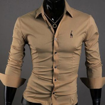 Men's Embroidered Long Sleeved Casual Formal Shirts size mlxl