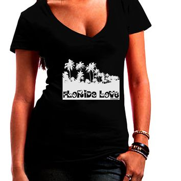 Florida Love - Palm Trees Cutout Design Juniors V-Neck Dark T-Shirt by TooLoud