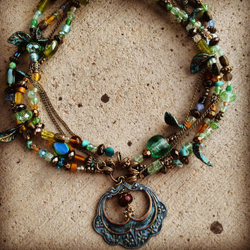 Gypsy Multi-strand glass beaded Necklace