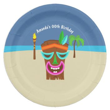 Kids Hawaiian Luau Party Paper Plate