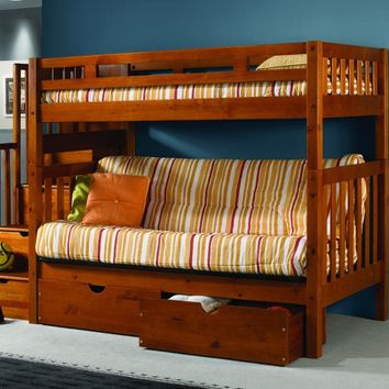 Ryan Honey Bunk Bed with Futon, Stairs, and Storage