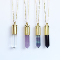 Bullet Necklace, Bullet Jewelry, Gold Bullet Necklace, Crystal Bullet Necklace, Healing Crystal, Crystal Point Necklace, Amethyst Bullet