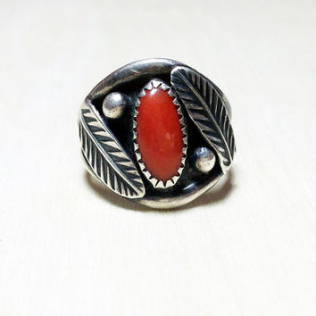 BLACK FRIDAY SALE Red Coral Navajo Ring in Vintage Sterling Silver // Vintage Unisex wide feather coral ring, native american jewelry