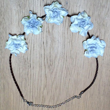 Custom Flower Headband -Small Bloom - Blue on leather braid with adjustable chain closure.