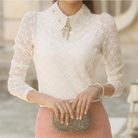 Women Lace blouses 2016 summer Autumn New Fashion Elegant White femininas Long Sleeve chiffon Blouse Korean Style Women Shirt