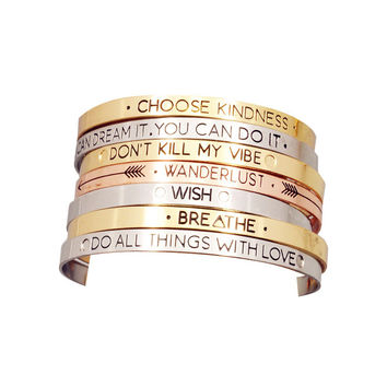 Words of Encouragement Cuff Bracelet - Assorted