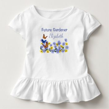 Butterflies and Daisy Flowers Future Gardener Toddler T-shirt
