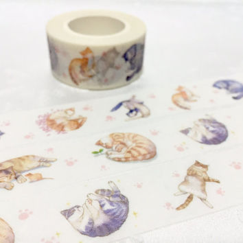 Cute Cat Washi Masking tape 10M meow meow washi tape water color  cat cozy cat lazy cat sticker tape cat planner diary scrapbook gift