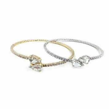 Cute Couple Swarovski Crystal Bangle Bracelet