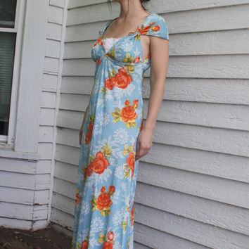 Blue Floral Gown Open Back Maxi Dress 70s 1970s Vintage XS S