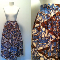 """1960s Printed Skirt / Prissy Missy / Vintage 1960s Circle Skirt / Psychedelic Print Cotton Circle Skirt / 28"""" Waist"""