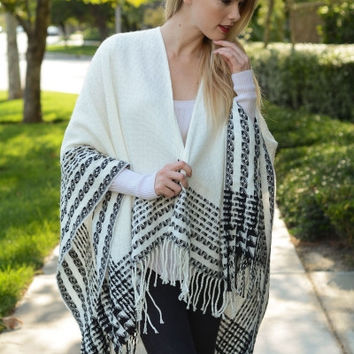 White Quilted Tassel Poncho