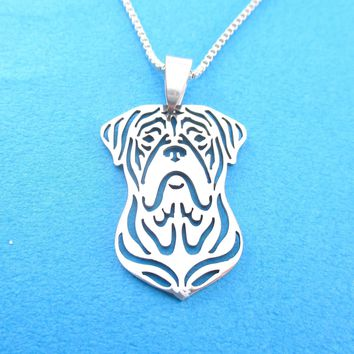 Detailed Bordeauxdog Shaped Cut Out Pendant Necklace in Silver | Animal Jewelry