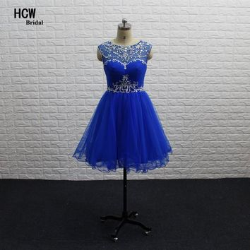 Royal Blue Short Prom Gowns 2018 Colorful Rhinestone Illusion Back A Line Knee Length Sexy Party Gown Arabic Prom Dresses Cheap