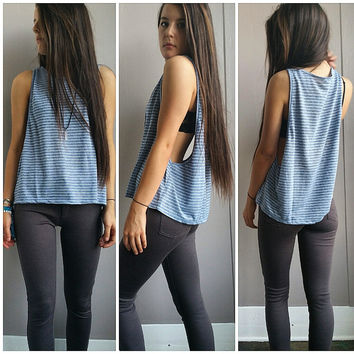 A Basic Open Arm Tank in Faded Blue