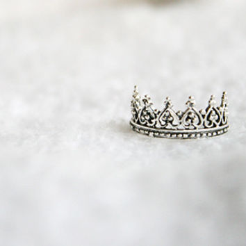 Perforated Crown Silver Ring Sterling Ring .925 Silver Ring Personalized Ring