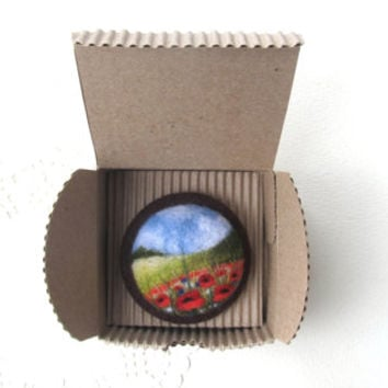Needle felted brooch with embroidery,Wool felt brooch,Poppy flower brooch,Felted jewelry,Gift ideas,For her,felted landscapes