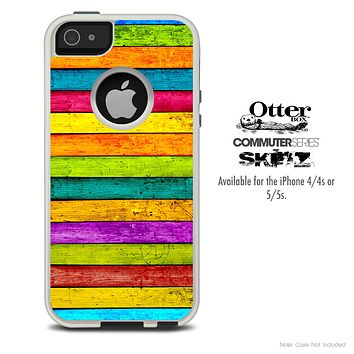 The Neon Horizontal Wood Planks Skin For The iPhone 4-4s or 5-5s Otterbox Commuter Case