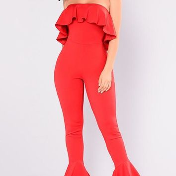 Red Off Shoulder Draped Backless Ruffle Vintage One Piece Long Jumpsuit