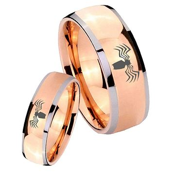 His Hers Rose Gold Dome Spider Two Tone Tungsten Wedding Rings Set