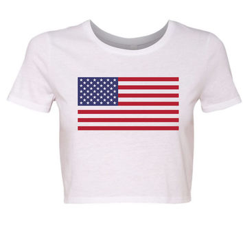 Ladies 'American Flag' Crop Top